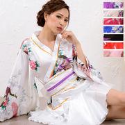【新色追加】0670サテン和柄豪華花魁ミニ着物ドレス 和柄 よさこい 花魁 コスプレ キャバドレス