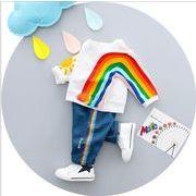女の子 虹のパターン ベビースーツメーカー 韓国 子供服 綿 子供のスーツ 2018春