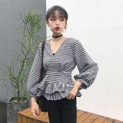 韓国風 春 新しいデザイン ファッション 襟 ランタンスリーブ フリル ウエスト スカー
