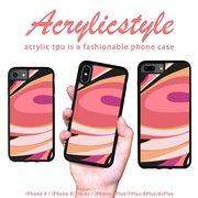 iPhone 7 8 X ケース マーブル柄 柄 ピンク