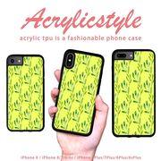 iPhone 7 8 X ケース 花柄 黄色 草模様 水彩風 北欧