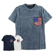 【2018SS新作】メンズ インディゴ天竺 サガラワッペン星条旗 ポケットTシャツ