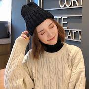 2018秋冬新作 レディーズ ハット キャップ 防寒 ニット シンプル配色