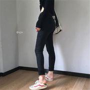 韓国 スタイル ファッション レディース 厚手 ヴィンテージ ボトムス 長ズボン ロングパンツ