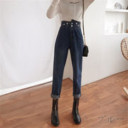 韓国 スタイル 新しい ファッション ハイウエスト 不規則 デニム パンツ ジーンズ