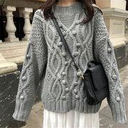韓国風 ファッション 【秋冬新作】 無地 ゆったり 長袖 ニット 編み織 セーター
