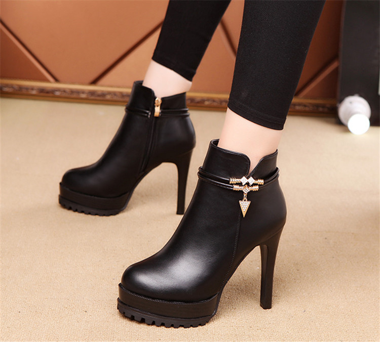 靴/女/秋/秋と冬/太いヒール/ブーツ/シングルブーツ/ハイヒール