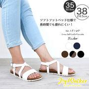 【joy walker】 レディースサイズ クロス ストラップ サンダル 5色