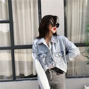 新しい女性のセクシー韓国ファッション 個性的なデザイン  イレギュラー ゆったりする デニム コート