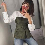 早春 新しいデザイン 韓国風 個性 + 長袖 偽 着やせ ベルト 気質 シャツ トップス