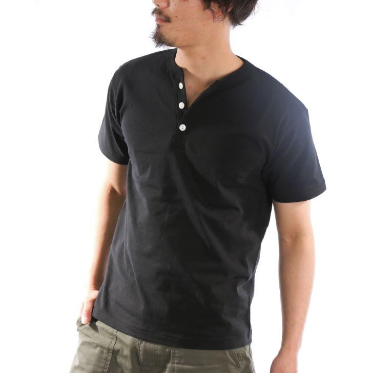 【2019春夏新作】 ヘンリーネックTシャツ メンズ 半袖 厚手 6.2オンス 無地 カットソー