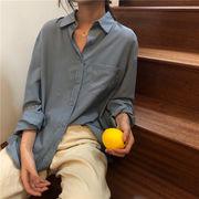 韓国風 夏 新しいデザイン ルース 何でも似合う シフォン 長袖シャツ 女 着やせ 単一