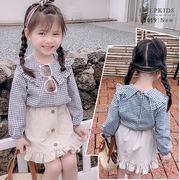 春秋 新しいデザイン 女児 グリッドシャツ 春服 中 小 児童 洋室 韓国風 シャツ 長