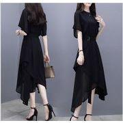 夏装 新しいデザイン おしゃれ 半袖 不規則裾 中長スタイル ブラック シフォンワンピース リボン付き 気質