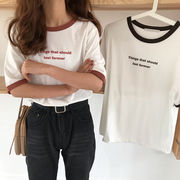 夏 新しいデザイン 韓国風 シンプル 複数色 レターズ プリント 半袖Tシャツ ファッシ