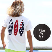 サーフボード サガラ 刺繍 ワッペン 半袖 Tシャツ メンズ レディース バック プリント 星条旗 アメリカ国旗