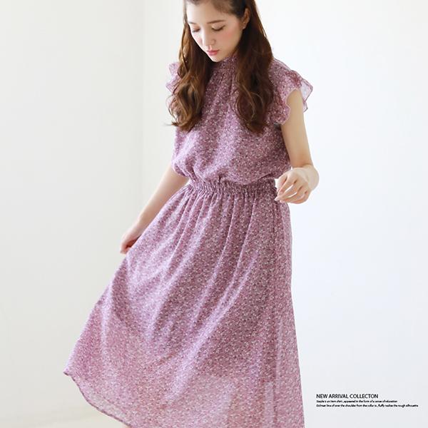 【2019春夏新作】衿シャーリングフリル袖ワンピース
