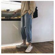 品質改善 高品質新入庫 韓国ファッション/大人気/百掛け/ゆったりする/破れ/ジーンズ/九分丈パンツ