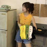 第1 番 ピープル ホーム 女性服 韓国風 ノースリーブ ベスト 何でも似合う ニッティ