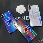 定形外773103】iPhone XS MAX ケース ミラー カメリア ラインストーン デザイン 純正品質
