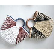 カゴバッグ ハンドバッグ トートバッグ ミクス 手作り ビーチ 透かし編み