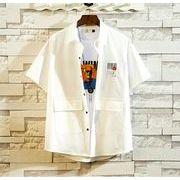 メンズ新作ワイシャツ 半袖トップス ゆったり カジュアル ホワイト/ブラック/グレー3色