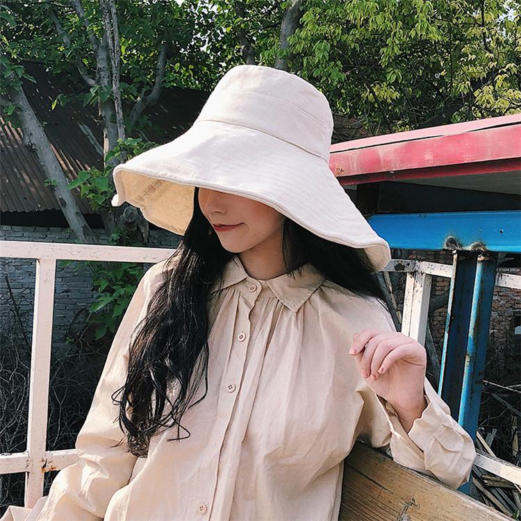 独特の存在感  漁師の帽子 女性 夏用 コットン製 大型バイザー 日焼け止め用帽子 帽子 ワイルド