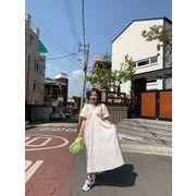 2色 夏★可愛 レディーズ★韓国可愛  カジュアル 半袖 シフォンワンピース シフォンワンピ
