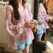 秋服 韓国風 新しいデザイン 前短い、後ろ長い 襟 ランタンスリーブ シフォン シャツ