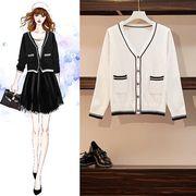 【大きいサイズL-4XL】ファッショントップス♪ブラック/ホワイト2色展開◆