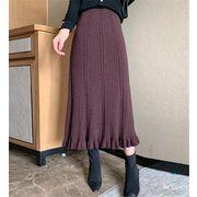 雑志で绍介されました 秋冬物 レトロ 中・長セクション 厚手 Aライン ロングスカート