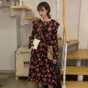 アンティーク調 長袖のドレス 秋服 新しいデザイン ルース 着やせ フローラル スカート