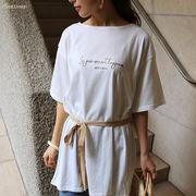 【W-3】ロゴ 刺繍 ベルト付き Tシャツ チュニック