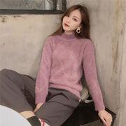 短いスタイル 毛 ニットトップス 気質 韓国風 女 怠惰な 風 ヘッジ 丸襟 グリッド