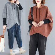 【秋冬新作】ファッショントップス♪ダークグレー/アカ2色展開◆