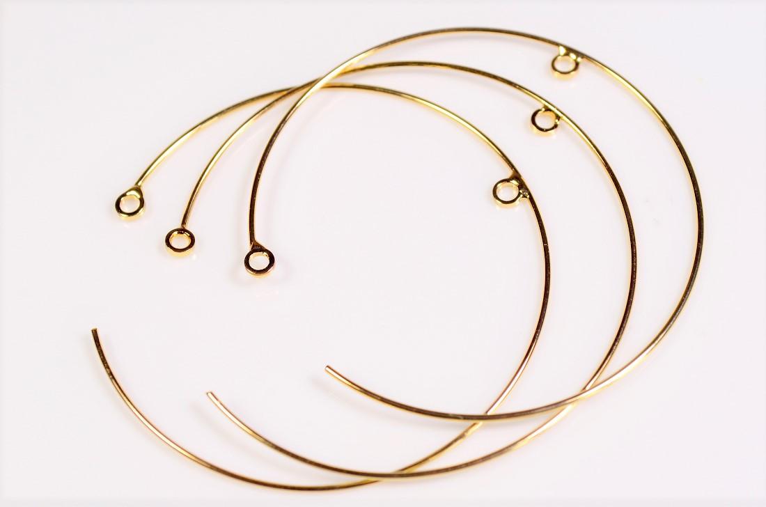 【銅製高品質】イヤリング基礎金具 丸カン付きフープ金具 ピアス金具 トレンドパーツ