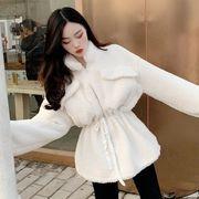 韓国風 風 シンプル 何でも似合う 単一色 襟 ウエストマーク 中長スタイル 毛 ジッパ