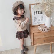 2019秋冬新作韓国ファッション 子供服   カジュアル   ショートドールシャツとスカート