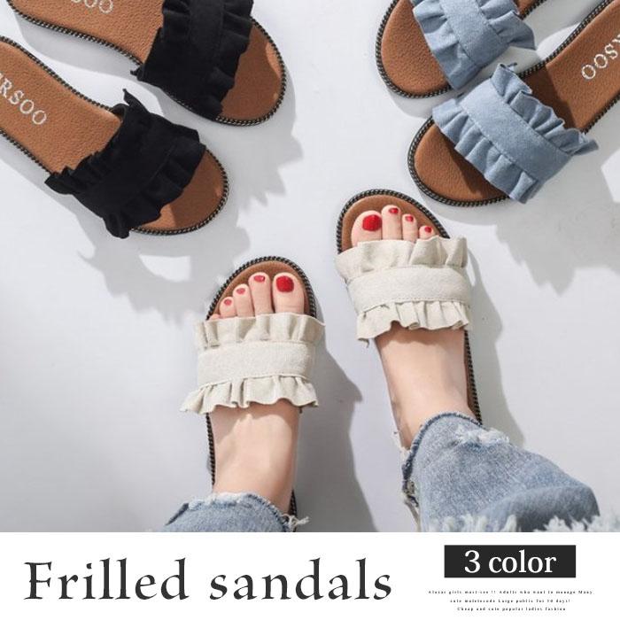 フリルサンダル 韓国 ファッション レディース 夏用 履物 かわいい 歩きやすい【vl-5219】