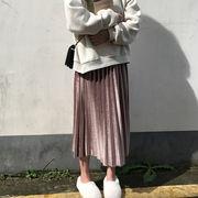 秋冬 新しいデザイン 韓国風 ハイウエストプリーツスカート 中長スタイル ベルベット ス
