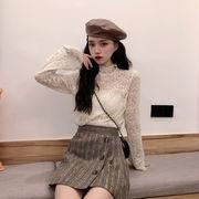 ファッション スモールシャツ 秋冬 新しいデザイン 韓国風 着やせ 着やせ 襟 レースシ