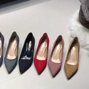 春秋 新しいデザイン 韓国風 女 何でも似合う 靴 ブラック ハイヒール 細いヒール セ