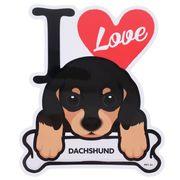 【ステッカー】ダックスフンド 防水ステッカー I LOVE DOG