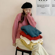 丸襟 ルース 底セーター 女 冬 新しいデザイン 韓国風 長袖シャツ 学生 何でも似合う