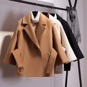 女子ショートウールコート/ベルトジャケット/マントコート