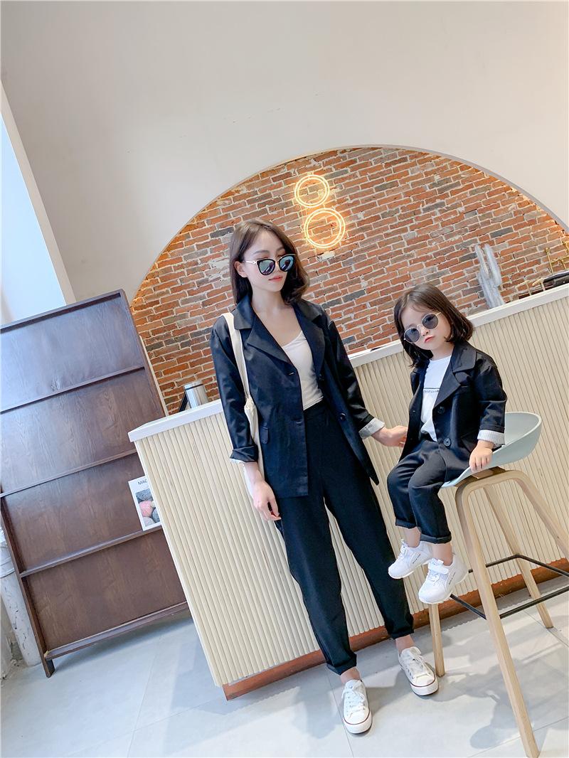 2019秋冬新作 韓国 ファッション  子供服 キッズ  スーツ 親子服 90-140cm  上下セット 2色