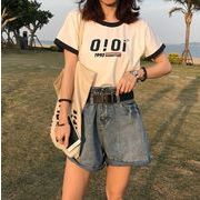 2020 夏 新作 トップス 韓国 英文字 oioi Tシャツ レディースファッション
