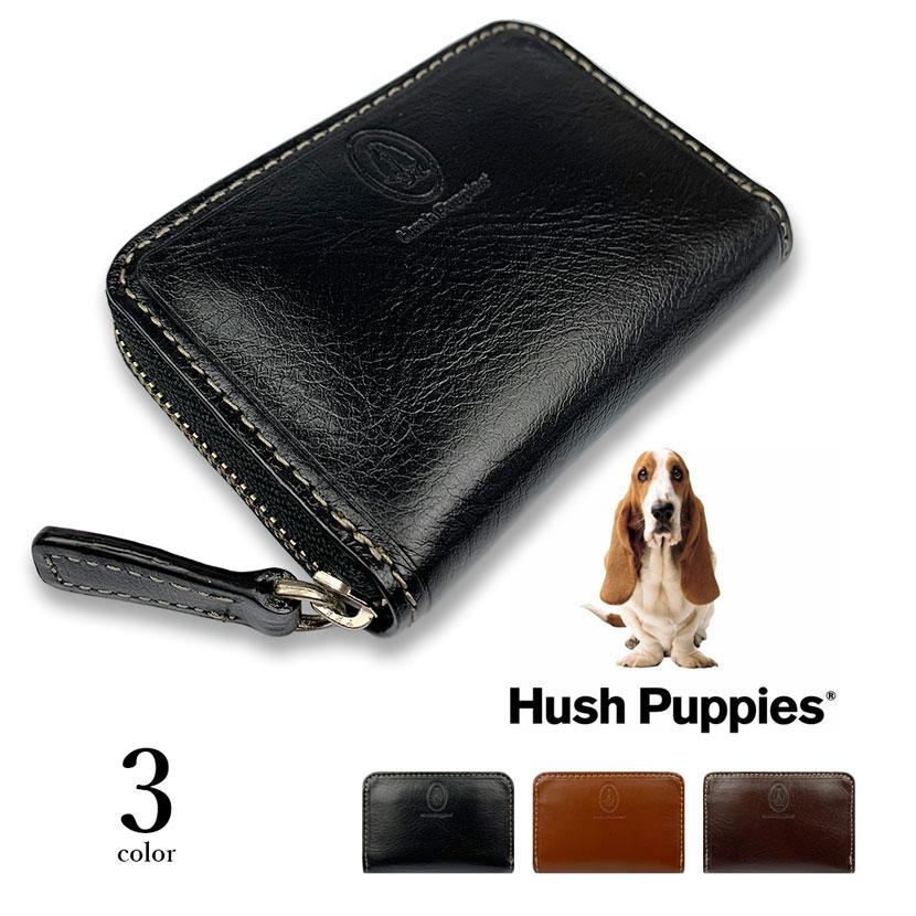 全3色 Hush Puppies ハッシュパピー リアルレザー バイカラー ラウンドファスナー コインケース 小銭入れ