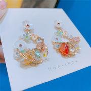 ガーリーなムード演出可能 韓国ファッション 気質 sweet系 シェル 花柄 クリスタル サークル イヤリング