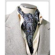 エレガントな袋縫いプリント柄入りメンズ用100%シルクスカーフ 10143b